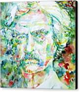 Mark Twain - Watercolor Portrait Canvas Print by Fabrizio Cassetta