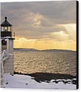 Marshall Point Lighthouse In Winter Maine  Canvas Print