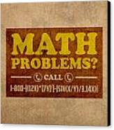 Math Problems Hotline Retro Humor Art Poster Canvas Print by Design Turnpike