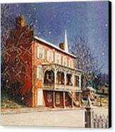 May House In Winter Canvas Print by Melodye Whitaker