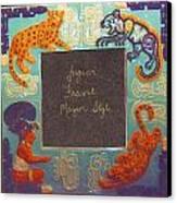 Mayan Jaguar Frame Canvas Print by Charles Lucas