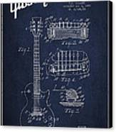 Mccarty Gibson Les Paul Guitar Patent Drawing From 1955 - Navy Blue Canvas Print