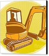 Mechanical Digger Excavator Retro Canvas Print by Aloysius Patrimonio