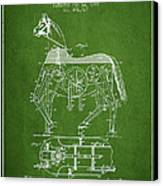Mechanical Horse Patent Drawing From 1893 - Green Canvas Print by Aged Pixel