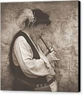 Medieval Flute Player Canvas Print by Pat Abbott