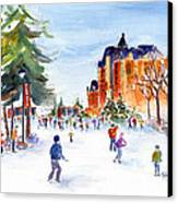 Meewasin Skating Rink Canvas Print by Pat Katz
