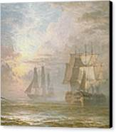 Men Of War At Anchor Canvas Print by Henry Thomas Dawson