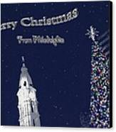 Merry Christmas From Philly Canvas Print by Photographic Arts And Design Studio