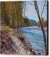 Methow River Coming From Mazama Canvas Print by Omaste Witkowski