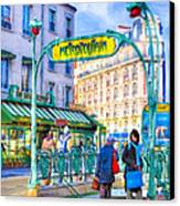 Metropolitain - Parisian Subway Street Scene Canvas Print