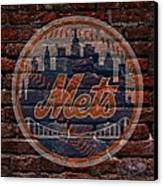 Mets Baseball Graffiti On Brick  Canvas Print by Movie Poster Prints