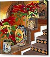 Mexican Pottery On Staircase Canvas Print by Judy Swerlick