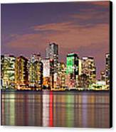 Miami Skyline At Dusk Sunset Panorama Canvas Print by Jon Holiday