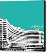 Miami Skyline Fontainebleau Hotel - Teal Canvas Print