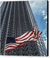 Miami's Financial Center And Old Glory Canvas Print by Rene Triay Photography