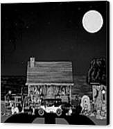 Midnight Near The Sea In Black And White Canvas Print by Leslie Crotty