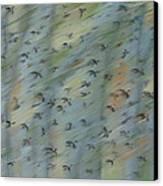 Migratory Geese Moon April Canvas Print by Ethel Vrana