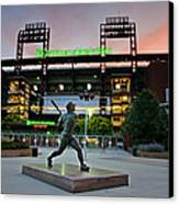 Mike Schmidt Statue At Dawn Canvas Print
