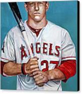 Mike Trout - La Angels Of Anaheim Canvas Print by Michael  Pattison