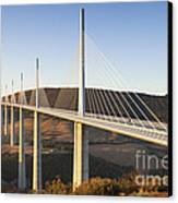 Millau Viaduct At Sunrise Midi Pyrenees France Canvas Print by Colin and Linda McKie