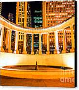 Millennium Monument Fountain In Chicago Canvas Print by Paul Velgos