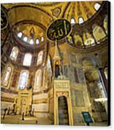Mimbar And Mihrab In The Hagia Sophia Canvas Print by Artur Bogacki