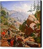 Miners In The Sierras Canvas Print by Charles Nahl