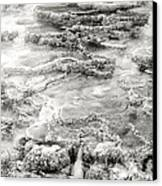 Minerva Springs In Black And White Yellowstone National Park Wyoming Canvas Print
