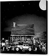 Miniature Log Cabin Scene With Old Time Vintage Classic 1930 Packard Labaron In Black And White Canvas Print