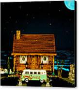 Miniature Log Cabin Scene With Old Time Vintage Classic 1962 Coca Cola Flower Power V.w. Micro Bus Canvas Print by Leslie Crotty