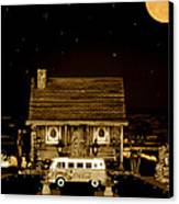 Miniature Log Cabin Scene With Old Vintage Classic 1962 Coca Cola Flower Power V.w. Bus In Sepia  Canvas Print by Leslie Crotty
