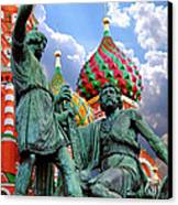 Minin And Pozharsky Monument In Moscow Canvas Print by Oleksiy Maksymenko