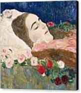 Miss Ria Munk On Her Deathbed Canvas Print by Gustav Klimt