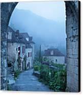 Misty Dawn In Saint Cirq Lapopie Canvas Print by Brian Jannsen