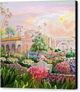 Misty Morning At Mission San Juan Capistrano  Canvas Print by Jan Mecklenburg