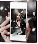 Mobile Phone Capturing A Broadway Cabaret Show Canvas Print
