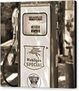 Mobilgas Special - Tokheim Pump  - Sepia Canvas Print by Mike McGlothlen
