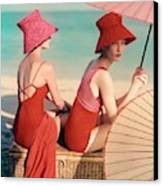 Models At A Beach Canvas Print by Louise Dahl-Wolfe