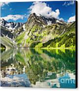 Mointain And Lake Canvas Print by Boon Mee
