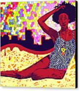 Mona Sur La Plage Urbaine Canvas Print by Kenal Louis