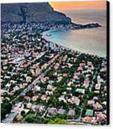 Mondello Beach Sunset Canvas Print by Viacheslav Savitskiy