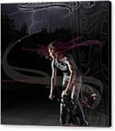 Monika Hinz Doing Great Bmx Flatland Action On Her Bike Canvas Print