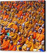 Monk Mass Alms Giving In Bangkok Canvas Print