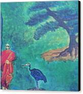 Monk With Bonzai Tree Canvas Print by Debbie Nester