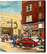 Monkland Street Hockey Game Montreal Urban Scene Canvas Print by Carole Spandau