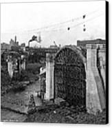 Monroe St Bridge Construction 1910 Canvas Print by Daniel Hagerman