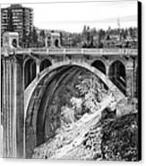 Monroe Street Bridge Iced Over - Spokane Washington Canvas Print by Daniel Hagerman