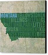 Montana Word Art State Map On Canvas Canvas Print by Design Turnpike