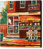 Montreal Street Scene Paintings Canvas Print