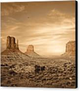 Monument Valley Golden Sunset Canvas Print by Susan Schmitz